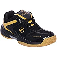 Feroc Black & Golden Unisex Badminton Shoe