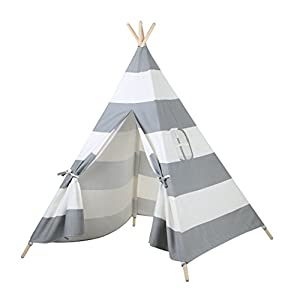 AniiKiss 6' Giant Canvas Kids Teepee Play Tent (Grey Stripes) - 41YpqGRUjXL - AniiKiss Giant Canvas Kids Teepee Play Tent, Grey Stripes
