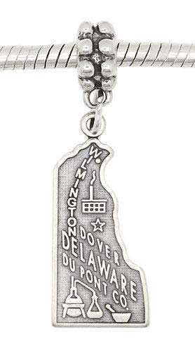 Sterling Silver Dangling State of Delaware European Bead Charm Jewelry Making Supply Pendant Bracelet DIY Crafting by Wholesale Charms -