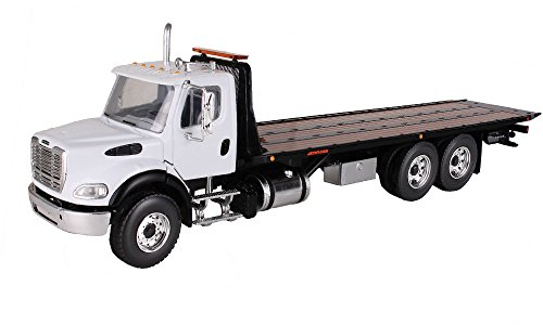 First Gear 1/34 scale Diecast Collectible White/Black Freightliner M2 with Jerr-Dan Rollback Carrier (#10-4020)