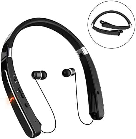 Retractable Bluetooth Headset, Wireless Headphones [30 Hours Playtime] with Neckband& Foldable Design for iPhone X/ 8/ 7 Plus Samsung Galaxy S8 Note 8 Other Bluetooth Enabled Devices (Black) …