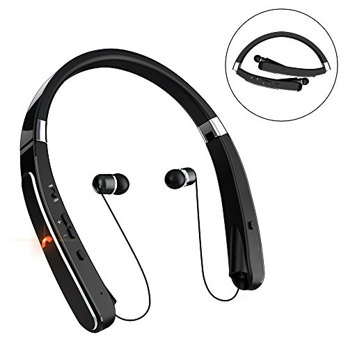 Retractable Bluetooth Headset, Wireless Headphones [30 Hours Playtime] with Neckband& Foldable Design Compatible for iPhone X/ 8/7 Plus Samsung Galaxy S8 Note 8 Bluetooth Enabled Devices (Black)