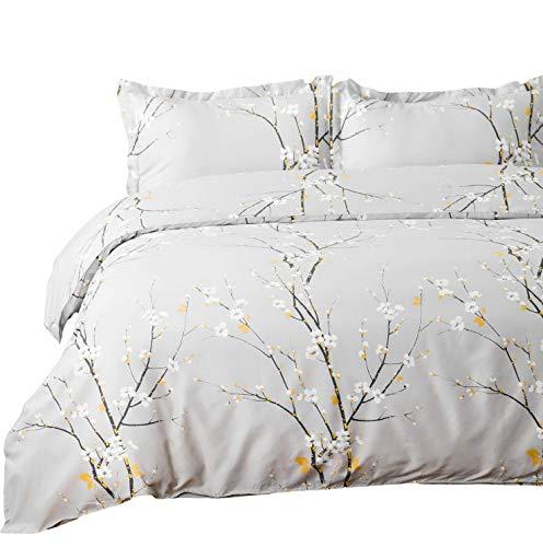 "Hemau Premium New Soft Set Twin Grey Printed Spring Bloom Pattern (68""x90"") 2 Pieces Comforter Cover Zipper Closure (1 + 1 Pillow Sham) Ultra Soft Hypoallergenic Microfiber | Style 503193275"