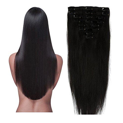 [100%Human Hair Extension 8pcs 18clips Standard Light Weft 16-22