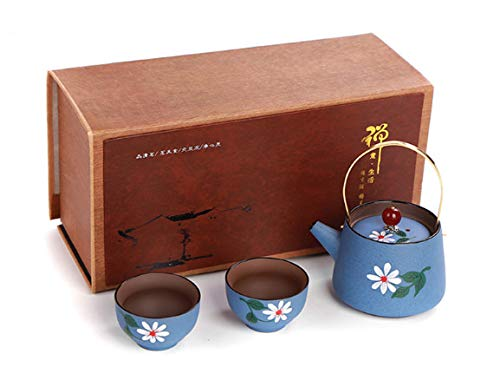 Chinese Handmade Zisha Purple Clay Teapots and Cups Pottery Ceramic Tea Set of 3, Afternoon Tea Maker, with Gift Box, Tea Sets for Women (Blue)
