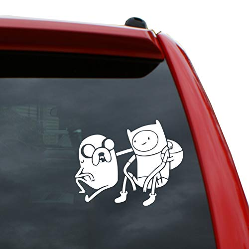 Black Heart Decals & More Adventure Time - Finn & Jake Sitting Vinyl Decal Sticker | Color: White | 5