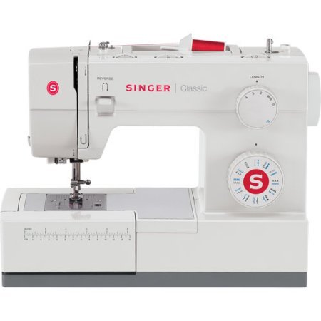 Singer Classic Heavy Duty Mechanical Sewing Machine Extra-high sewing speed Automatic needle threader with top drop-in bobbin, white and gray sewing machine / Stainless steel bed plate - Sewing Machine Singer 44s