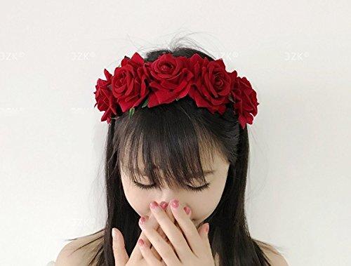 JZK Cerchietto rose rosse capelli fascia fiori per bambina donna per Dia De Los  muertos Halloween matrimonio damigella d onore sposa corona fiore  ... fd1be54496c8