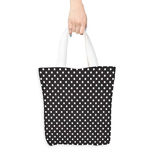 Eco-Friendly Purse Bag,Black and White Classical Pattern of White Polka Dots on Black Traditional Vintage Design,Reusable Grocery Bags,16.5