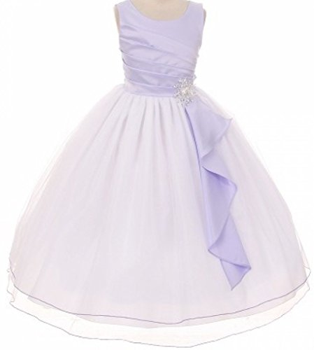Big Girls' Satin Surplice Top Double Layer Flowers Girls Dresses Lilac Size 8
