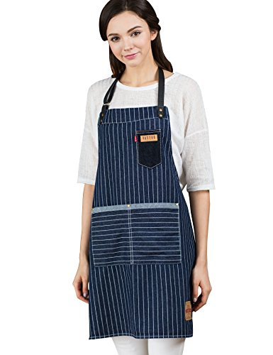 Vantoo Unisex Pinstriped Leather Denim Apron for Men and Women,Navy Blue