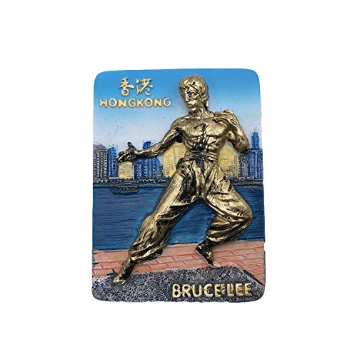 (3D China HongKong Bruce Lee Refrigerator Fridge Magnet Tourist Souvenirs Resin Magnetic Stickers Home & Kitchen Decoration from Travel Gift)