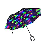 DOPKEEP Rainbow Horses Fun Celebrate Double Layer Inverted Umbrella Cars Reverse Umbrella,UV Protection Windproof Large Straight Umbrella for Car Rain Outdoor with C-Shaped Handle