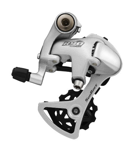 (SunRace RDR91 9-Speed Short Cage Bike Derailleur with Bolt, Silver)