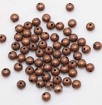 (FidgetFidget 50/100pcs Silver/Golden/Bronze Plated Copper Round Spacer Beads Seamless 6/8mm Antique Copper 6mm(100pcs))