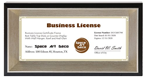 Beveled Edge Frame - Space Art Deco 4x9 Business License Frame - Black Color with Silver Champagne, Beveled Edge Inner Depth - Table Easel Stand - Real Glass (4x9, Photo Frame Only)