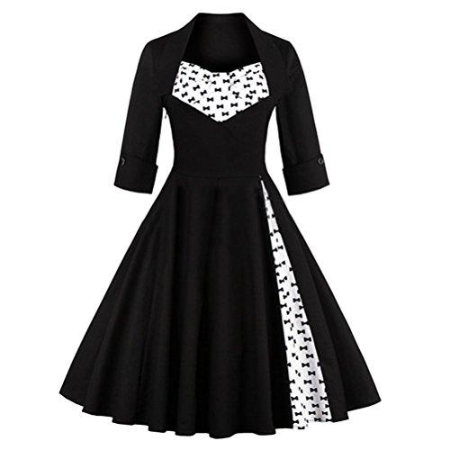 Ghope Damen Aendkleid Vintage 1950er Streifen V Ausschnitt 3/4 Arm Retro Schwingen Pinup Rockabilly Kleid Schwarz ib4JjXh