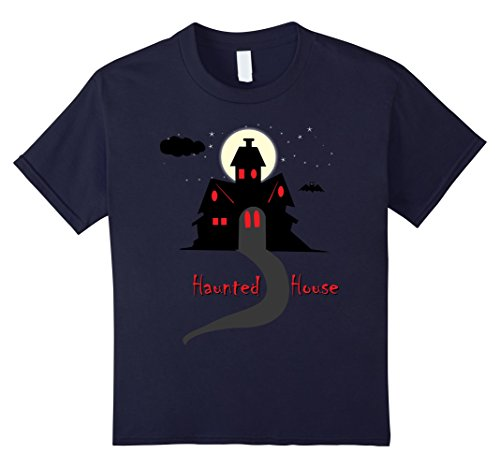 Kids Scary Haunted House Halloween Costume Shirt Cool Gift Tshirt 6 Navy