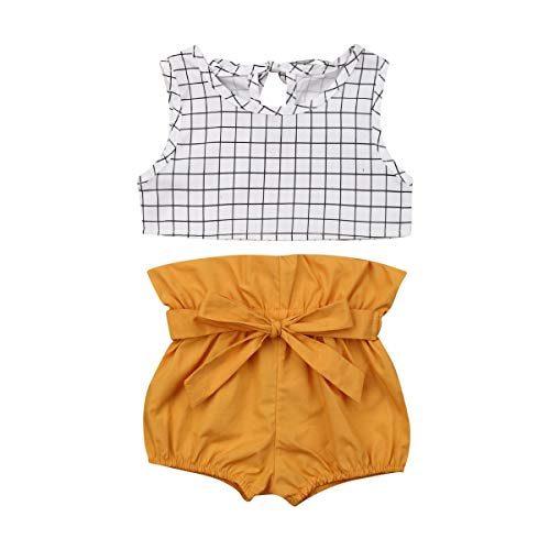 Infant Baby Summer Outfits Sleeveless Gingham Crop Top + High Waist Yellow Bloomers Shorts Toddler Clothes (Yellow, 0-6M)
