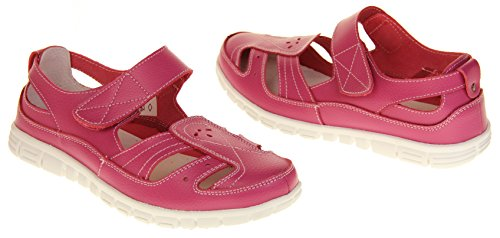 Summer Fruits by Coolers Womens Wide Fit EEE Leather Sandals Shoes Raspberry Pink KJUAsWCm9
