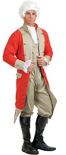 Charades Men's British Red Coat Costume Set, Red/Tan, (Red Coat British Costume)