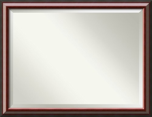 Vanity Mirror Mahogany (Amanti Art Vanity Bathroom Wall | Cambridge Mahogany Frame | Solid Wood Mirror |, Glass Size 40x30,)