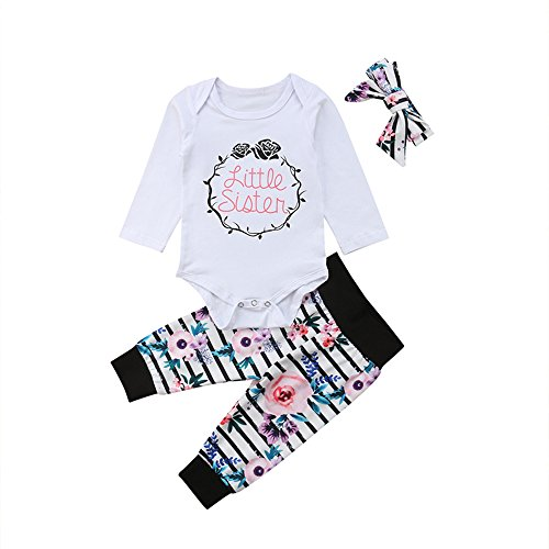 (Newborn Girl Clothes Little Sister Outfit Baby Bodysuit+Floral Striped Pants with Headband Infant Clothing Sets (Long Sleeve, 3-6 Months))