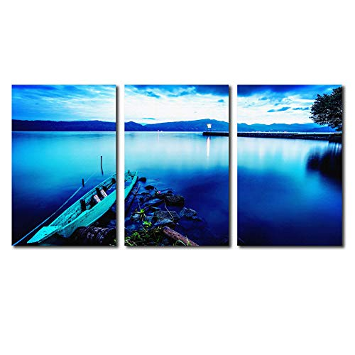 (Cairnsi 3 Pieces Canvas Prints Wall Art Paintings Blue Lake and Boat Scenery Modern Pictures Stretched and Framed Ready to Hang for Wall Decor - 12