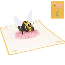 Linlin Bee Flower Greeting Cards Handmade Birthday Wedding Invitation 3D Pop Up Card