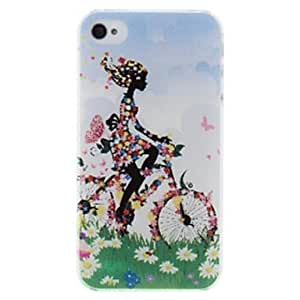 DUR Beautiful Lovely Flower Girl Pattern PC Hard Case for iPhone 4/4S