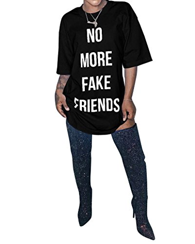 Womens No More Fake Friends Printed Short Sleeve Plus Size Clubwear Party T-Shirt Dress