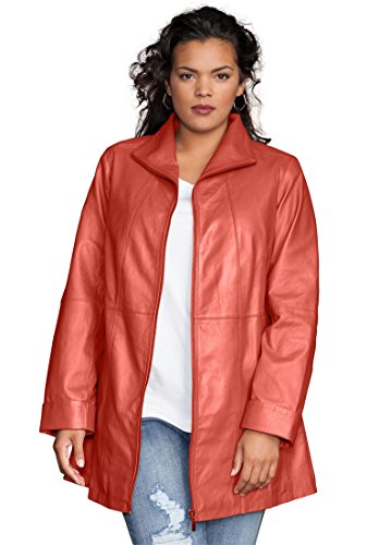 Roamans Women's Plus Size Leather A-Line Jacket Pumpkin,22 W by Roamans