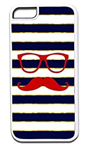 Red Shades and Stache on Gold Print and Navy Stripes- Case for the APPLE IPHONE 5 ONLY!!! NOT COMPATIBLE WITH THE IPHONE 5c!!!-Hard White Plastic Outer Case with Tough Black Rubber Lining