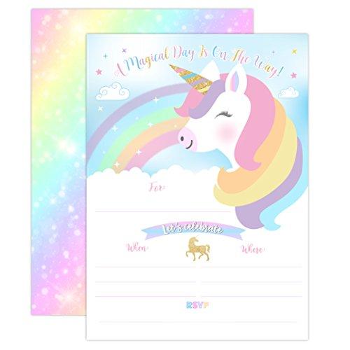 YME Unicorn Birthday Invitation, Rainbow Unicorn Party Invite 20 Fill in Style with Envelopes