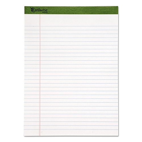 Ampad 100% Recycled Perforated Ruled 50 Sheet 8 1/2 x 11 3/4 Inch White Pads 12 Pack (Recycled Writing Pads)