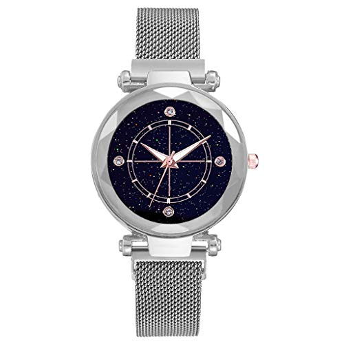 (XBKPLO Quartz Watches Simple Ladies Fine Good Luck Starry Sky Analog Wrist Watch Mesh Magnetic Buckle Strap Bracelet Jewelry Women Gift)