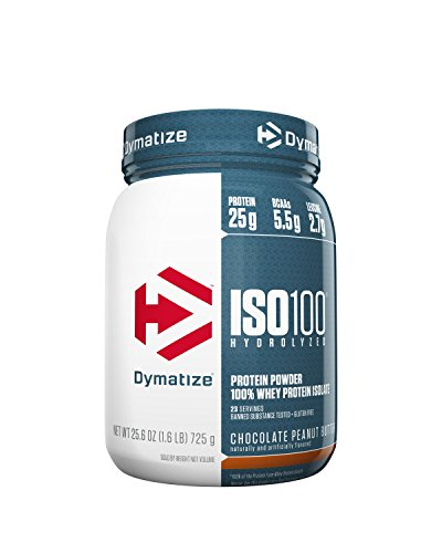 - Dymatize ISO 100 Whey Protein Powder with 25g of Hydrolyzed 100% Whey Isolate, Gluten Free, Fast Digesting, Chocolate Peanut Butter, 1.6 Pound