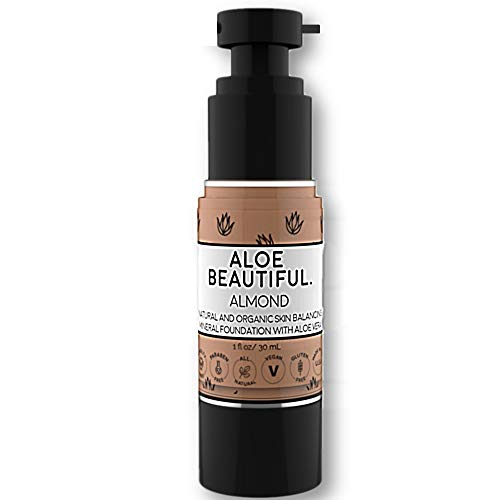 Best Organic Liquid Foundation With All Natural Vegan Gluten-Free Ingredients, Made In USA, Almond