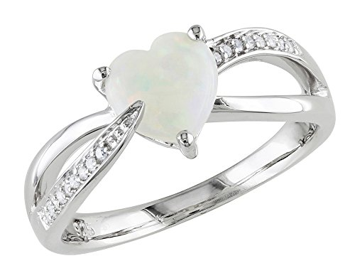 Opal Heart 1.0 Carat (ctw) Ring with Diamonds in Sterling for sale  Delivered anywhere in Canada