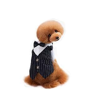 Farjing Clearance Puppy Shirt ,Pet Dog Shirt Suit Wedding Groom Tuxedo Puppy Gentleman Suit Bowtie (M,Black