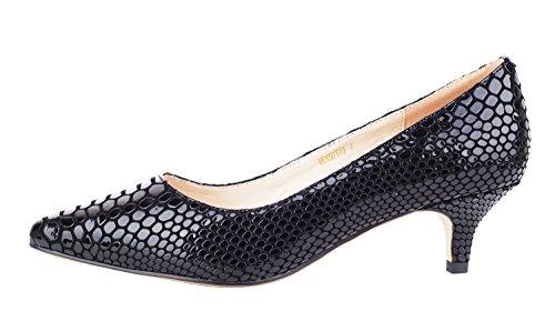 Verocara Women's 1.77inch Kitten Heel Pointy Toe Genuine Leather Evening Dress Pumps
