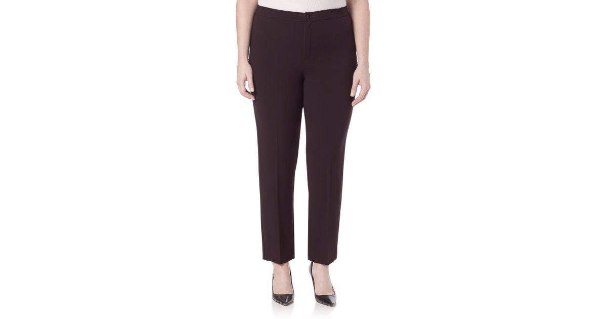 Marina Rinaldi Women's Ravel Slim Fit Pants, Eggplant, 14W/23