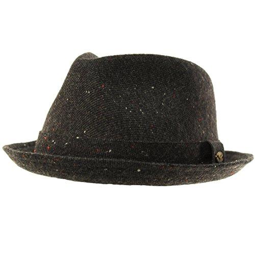 Men's 100% Soft Wool Tweed Winter Fall Derby Fedora Uprturn Curl Hat S/M Black