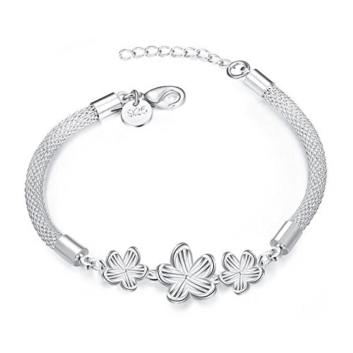 (Ransopakul 925 Sterling Silver Plated Plum Flower Bracelet Chain Women Jewelry)
