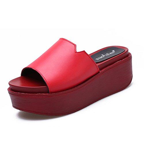 uk4 Tallone Di Colori Dell'alto Estate Sandali Scarpe Donne Per 6 Eu36 Haizhen cn36 Generi Le colore Pantofole 4 7cm Pistoni 6 Con Dimensioni Donna Da Mette I SAa80w