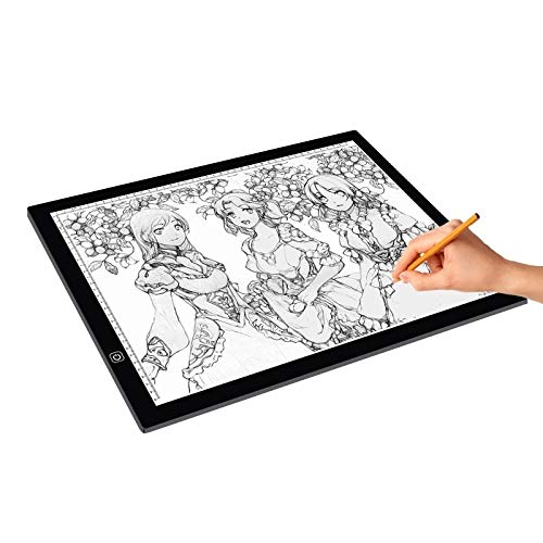 NGAU Light Box Tracer Drawing Light Pad A3 Size 8W 5V LED Ultra-Thin Stepless Dimming for Acrylic Copy Boards for Anime Sketch Drawing Sketchpad, with USB Cable by NGAU