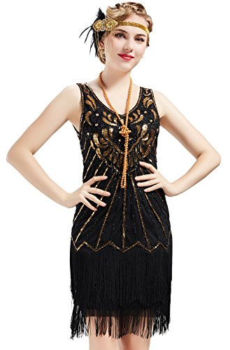 BABEYOND Women's Flapper Dresses 1920s V Neck Beaded Fringed Dress Dress Great Gatsby Dress (Gold & Black, -