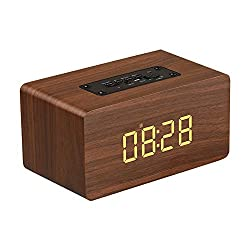 NBKLS Multifunctional Wooden Wireless Bluetooth Speaker, HiFi Music Speaker Digital LED Alarm Clock Support TF Card FM Radio Function,Brown