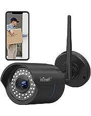 Cámara de Vigilancia Exterior, ieGeek HD 1080P Cámara IP Wi-Fi CCTV Inalámbrica, Impermeable IP66, Detección de Movimiento, Empuje de Alarma, Versión Nocturna 25M,Vista Remota con Android/iOS/PC