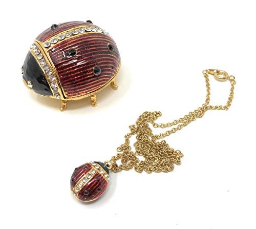 Kubla Craft Enameled Ladybug Trinket Box & Necklace, Accented with Austrian -